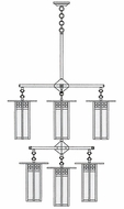 Arroyo Craftsman GCH-9L/4/4-1 Glasgow Craftsman 9 Light Long Body Chandelier - 33.375 inches wide