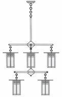 Arroyo Craftsman GCH-9/4-4 Glasgow Craftsman 8 Light Chandelier - 33.375 inches wide