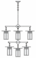 Arroyo Craftsman GCH-9/4-4-1 Glasgow Craftsman 9 Light Chandelier - 33.375 inches wide