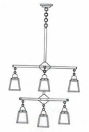 Arroyo Craftsman ACH-4/4-1 A-Line Craftsman 9-Light Chandelier