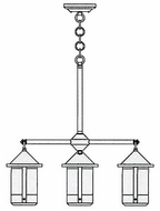 Arroyo Craftsman BCH-6/4 Berkeley 4 Light Chandelier - 23.125 inches wide