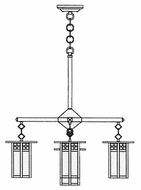 Arroyo Craftsman GCH-6L/4-1 Glasgow Craftsman 5 Light Long Body Chandelier - 24.5 inches wide
