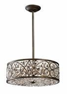 ELK 112876 Amherst Medium Wrought Iron Pendant Light with Crystal Accents