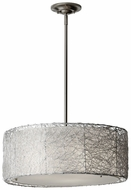 Feiss F2702-3-BS Wired Contemporary Brushed Steel 19 Inch Diameter Drum Pendant
