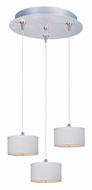 ET2 E95492-100SN Elements 3 Lamp Satin Nickel Finish White Weave Multi Pendant - 13 Inch Diameter