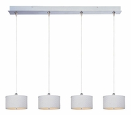 ET2 E95498-100SN Elements 34 Inch Wide Small 4 Lamp White Weave Multi Hanging Light