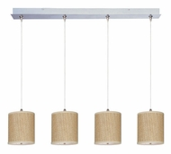 ET2 E95499-101SN Elements Grass Cloth Large 34 Inch Wide 4 Lamp Multi Pendant Lighting