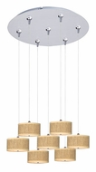 ET2 E95500-101SN Elements Small 7 Lamp Grass Cloth Satin Nickel Multi Pendant Lighting
