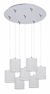 ET2 E95501-100SN Elements 17 Inch Diameter Large 7 Lamp White Weave Multi Drop Lighting