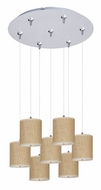 ET2 E95501-101SN Elements Grass Cloth 7 Lamp Satin Nickel Multi Pendant Lighting Fixture