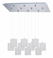 ET2 E95505-100SN Elements Large Satin Nickel White Weave 10 Lamp Multi Hanging Lamp