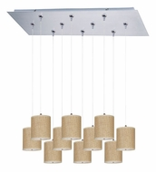 ET2 E95505-101SN Elements Satin Nickel Finish 10 Lamp Grass Cloth Multi Pendant Hanging Light