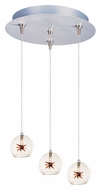 ET2 E94672-25 Starburst Contemporary 3 Lamp Clear/Amber Glass RapidJack Multi Hanging Pendant Light