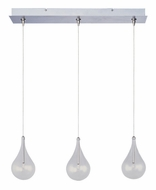 ET2 E94810-18SN Larmes Clear Glass 3 Lamp Contemporary Linear Bar Multi Drop Ceiling Light Fixture