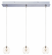 ET2 E94872-24 Starburst 24 Inch Wide 3 Lamp Clear Glass Multi Drop Lighting Fixture