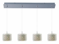 ET2 E94949-10PC Minx Clear/White Glass 34 Inch Wide Linear Bar Multi Hanging Pendant Lighting