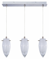 ET2 E94841-113SN Minx White Cirrus 24 Inch Wide 3 Light Linear Bar Multi Pendant With RapidJack Canopy