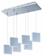 ET2 E22266-61PC Brick LED 6 Lamp Polished Chrome Finish Multi Pendant Lighting Fixture