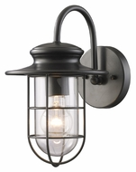 ELK 42284/1 Portside Small Nautical Matte Black 12 Inch Tall Outdoor Wall Lamp