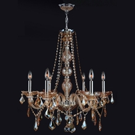 Worldwide W83105C24-AM Provence 24 Inch Diameter 6 Candle Amber Crystal Chandelier Lighting