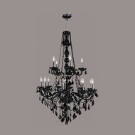 Worldwide W83107C33-BL Provence 15 Candle Black Crystal 33 Inch Diameter Chandelier Lamp