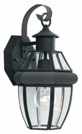 Thomas SL94137 Heritage Beveled Glass 13 Inch Tall Black Exterior Wall Lamp - Small