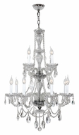 Worldwide W83098C28-CL Provence 2 Tier Clear Crystal Chandelier Lamp - 12 Candles