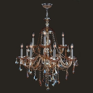 Worldwide W83101C28-AM Provence Amber Crystal 28 Inch Diameter 12 Candle Chandelier