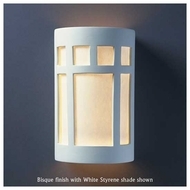Justice Design 5355 Ambiance Large ADA Prairie Window Wall Sconce, Open Top