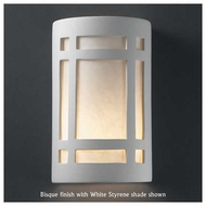 Justice Design 5495 Ambiance Large ADA Craftsman Window Wall Sconce, Open Top