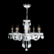 Worldwide W83129C22-WH Gatsby White Crystal 8 Candle Chandelier Light Fixture