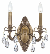 Crystorama 5562-AB-CL-MWP Dawson Antique Brass 2 Candle 12 Inch Tall Lamp Sconce
