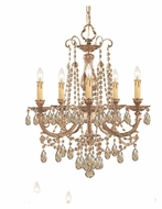 Crystorama 475-OB-GT-MWP Etta Small Olde Brass Finish 20 Inch Diameter Hanging Chandelier - Golden Teak Crystal