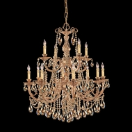 Crystorama 479-OB-GT-MWP Etta Large Olde Brass Finish 32 Inch Diameter Golden Teak Crystal Chandelier