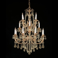 Crystorama 480-OB-GT-MWP Etta Extra Large Golden Teak Crystal 36 Inch Diameter Brass Chandelier