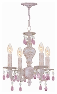 Crystorama 5024-AW-RO-MWP Sutton Antique White Finish 4 Candle Mini Chandelier - Rose Crystal