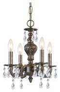 Crystorama 5024-VB-CL-MWP Sutton Mini 13 Inch Diameter 4 Candle Venetian Bronze Chandelier - Clear Crystal