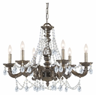 Crystorama 5026-VB-CL-MWP Sutton Venetian Bronze Clear Crystal 28 Inch Diameter 6 Candle Hanging Chandelier