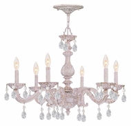 Crystorama 5036-AW-CL-MWP Sutton Antique White 6 Candle 21 Inch Tall Lighting Chandelier - Clear Crystal