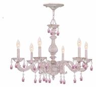 Crystorama 5036-AW-RO-MWP Sutton Rose Crystal 21 Inch Tall Antique White Chandelier Lamp