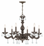 Crystorama 5036-VB-CL-MWP Sutton 6 Candle Venetian Bronze 21 Inch Tall Ceiling Chandelier