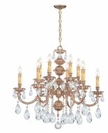 Crystorama 2512-OB-CL-MWP Oxford Large 12 Candle Olde Brass Finish Hanging Chandelier - Clear Crystal