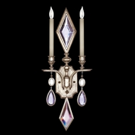 Fine Art Lamps 729050-3 Encased Gems 2-lamp Silver Traditional Wall Sconce with Clear Crystal Accents