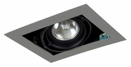 Jesco MGP20-1SB Double Gimbal 7 Inch Long New Construction Recessed Lighting - Silver/Black