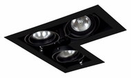 Jesco MGP20-3LBB Double Gimbal New Construction L-Corner 3 Lamp Black Recessed Lighting