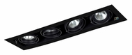 Jesco MGP20-4BB Double Gimbal New Construction Linear 4 Lamp Recessed Lighting - Black