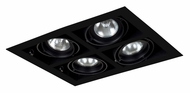 Jesco MGP20-4SBB Double Gimbal Square 4 Lamp New Construction Black Recessed Lighting