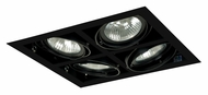 Jesco MGP30-4SBB Double Gimbal Square 14 Inch Wide PAR30 Recessed Light Fixture - Black