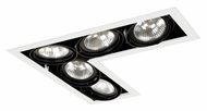 Jesco MGP30-5LWB Double Gimbal Black/White 5 Lamp L-Corner Recessed Lighting - PAR30