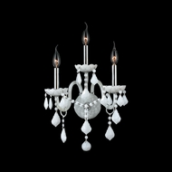 Worldwide W23103C13-WH Provence 18 Inch Tall White Crystal 3 Candle Wall Sconce